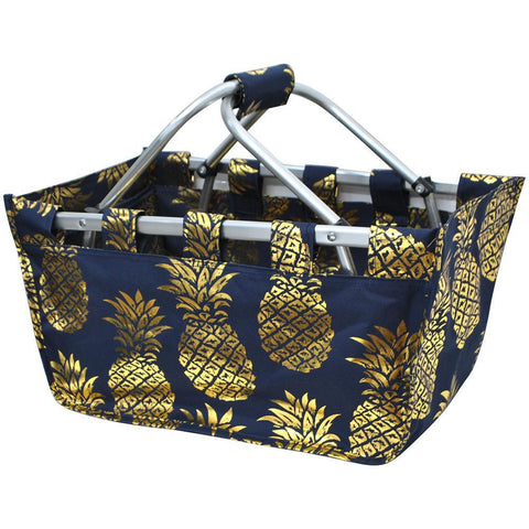 Gold Navy Pineapple NGIL Canvas, Shopping, Market, Picnic Basket