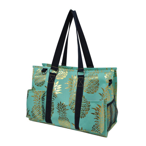 Gold Mint Pineapple NGIL Zippered Caddy Organizer Tote Bag