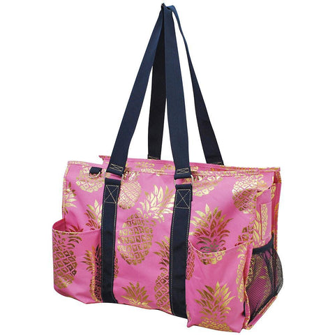 Gold Coral Southern Pineapple NGIL Zippered Caddy Large Organizer Tote Bag