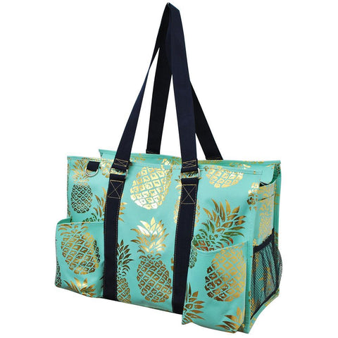 Gold Mint Southern Pineapple NGIL Zippered Caddy Large Organizer Tote Bag