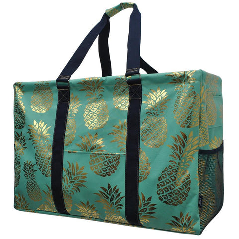 Gold Mint Pineapple NGIL Mega Shopping Utility Tote Bag