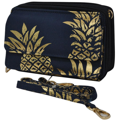 Gold Navy Southern Pineapple NGIL Quilted All In One Wallet