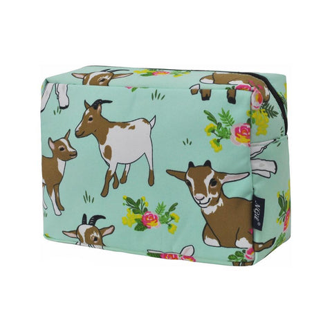 Cosmetic bags for travel, women's travel make up bag, makeup pouch for her, makeup bag gift purchase, cosmetic bags in bulk, cosmetic organizer for bathroom, travel pouch bags personalized, goat cosmetic travel pouch, goat lovers gift, goat gift ideas