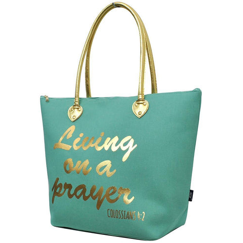 SALE ! Living on a Prayer Mint NGIL Gold Collection Tote Bag
