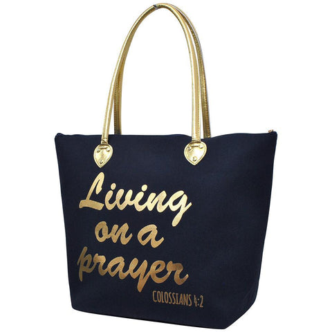 Living on a Prayer Navy NGIL Gold Collection Tote Bag