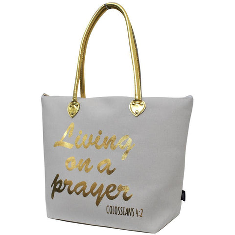 Living on a Prayer White NGIL Gold Collection Tote Bag