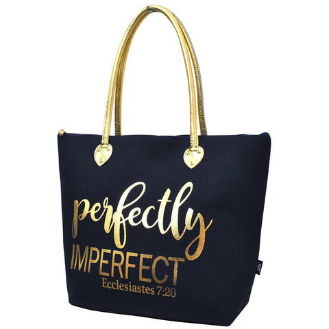 Perfectly Imperfect Navy NGIL Gold Collection Tote Bag