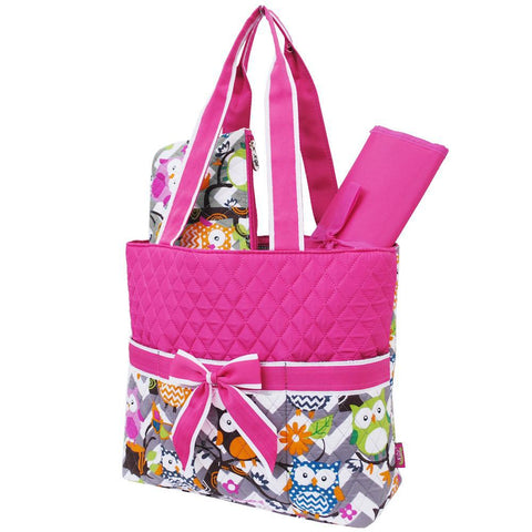 Owl Town Pink Chevron NGIL Quilted 3pcs Diaper Bag