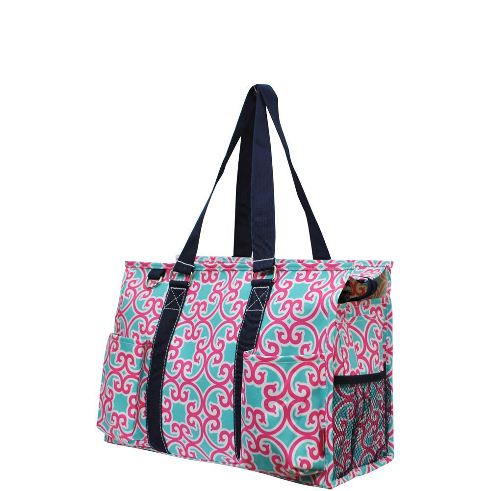 Geometric Vine Trellis NGIL Zippered Caddy Organizer Tote Bag
