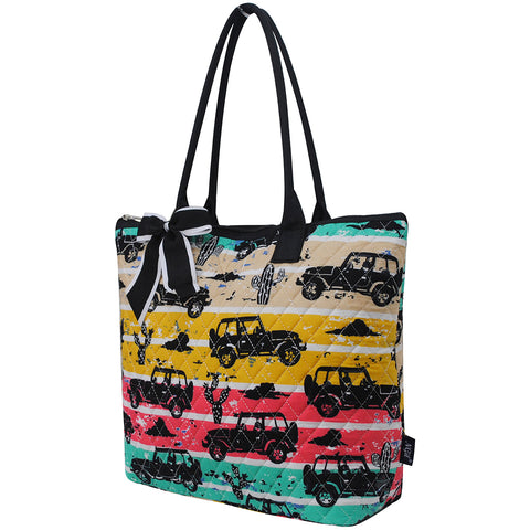 in bulk women's cute tote bag, gifts for grandmother's, quilted tote bags for everyday errands, giveaway tote backs for fundraisers, cute quilted car themed tote bag, cactus and jeep silhouette themed tote bag