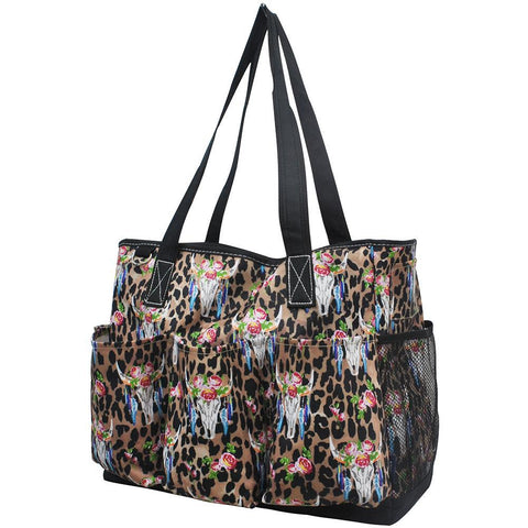 Leopard Bull Skull NGIL Large Utility Caddy Tote