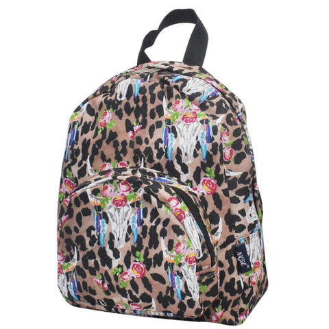 Leopard Bull Skull NGIL Canvas Mini Backpack