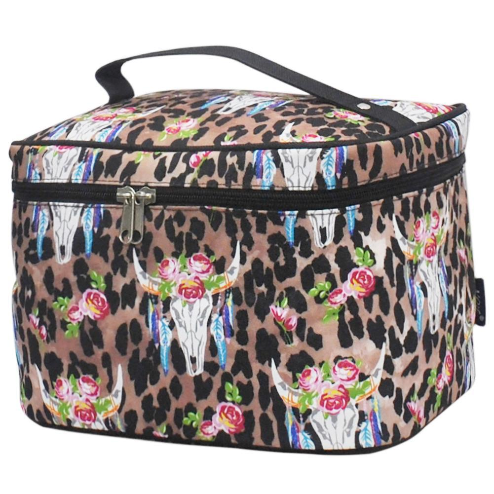 Leopard Bull Skull NGIL Large Top Handle Cosmetic Case
