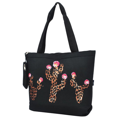 Leopard Cactus Black NGIL Canvas Tote Bag