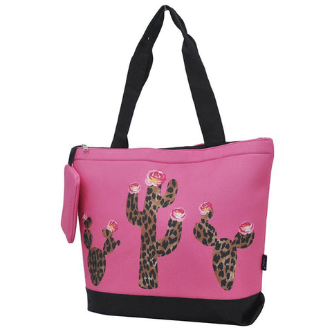 Leopard Cactus Coral NGIL Canvas Tote Bag