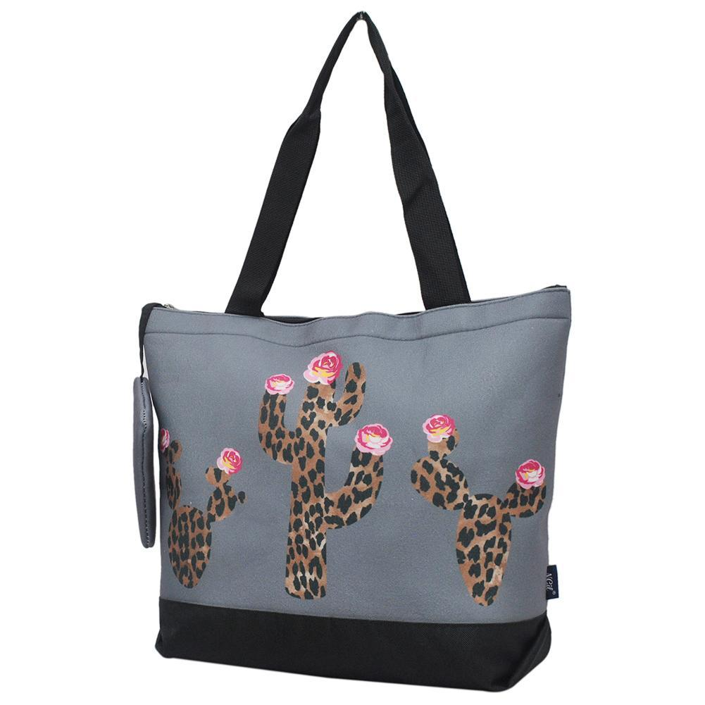 Leopard Cactus Gray NGIL Canvas Tote Bag