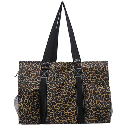 Leopard Print NGIL Zippered Caddy Large Organizer Tote Bag