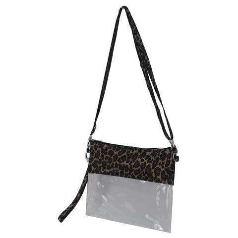 Leopard Print NGIL Clear Stadium Crossbody Purse/Clutch Bag