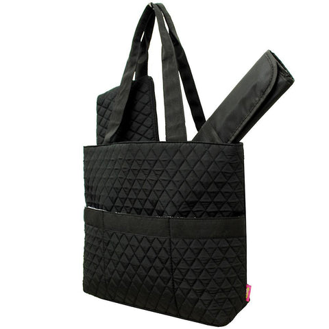 Black Solid NGIL Quilted 3pcs Diaper Bag