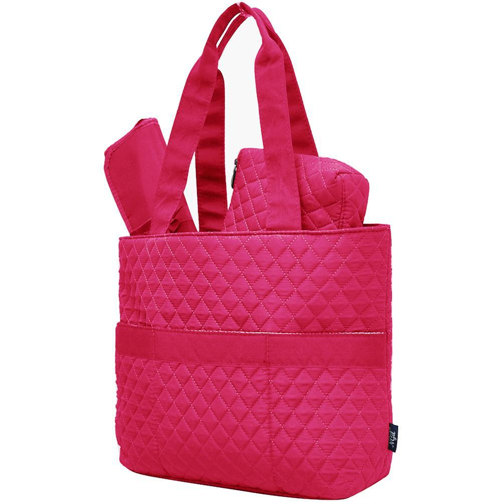 Hot Pink Solid NGIL Quilted 3pcs Diaper Bag