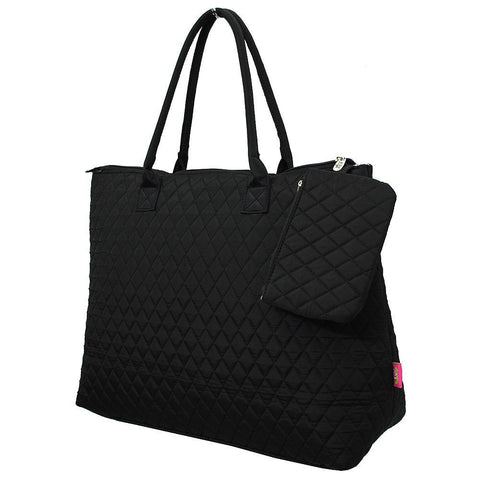 Solid Black NGIL Quilted Overnight Tote Bag