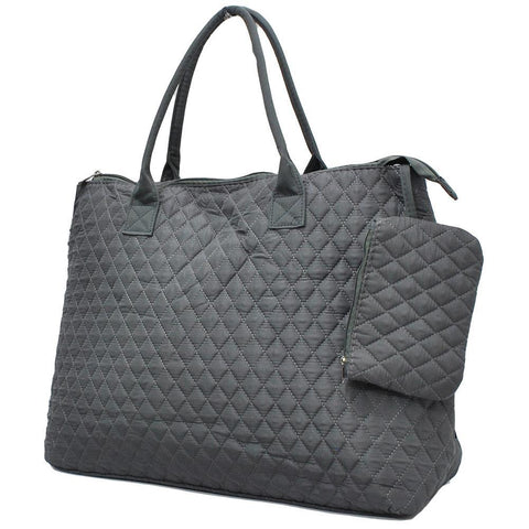 Solid Gray NGIL Quilted Overnight Tote Bag