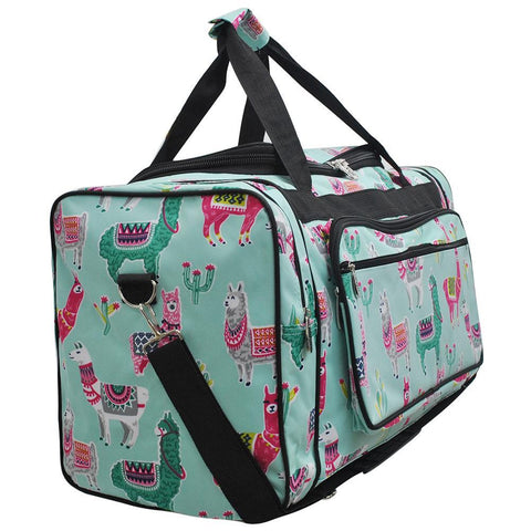 "23"" Duffle Bag, llama Dance Duffel, monogram duffel bag women, personalized duffel bag for girls, DUFFLE BAGS CHEAP, road trip bag pattern, weekender bag bridesmaids, travel bag pattern, cute llama print, mint duffle bag."