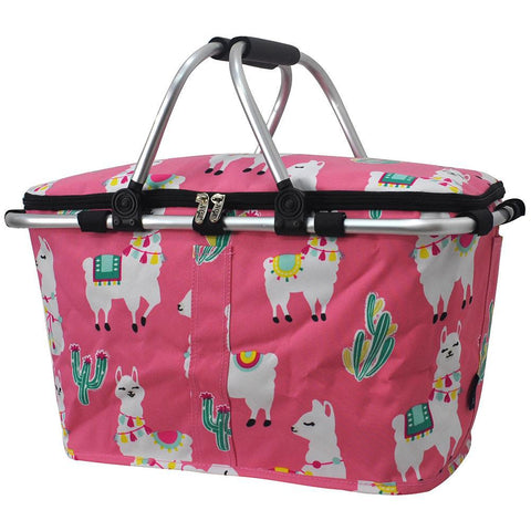 Insulated picnic basket for 2, market basket with lid, insulated basket for 2, picnic basket cooler, picnic basket with liner, picnic basket for kids, baskets for 6, picnic themed gifts, monogram gifts for her, hot pink basket, cute pink llama basket, hot pink basket, monogram gift for teenage girl.