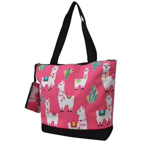Overnight bag, monogram gifts for her, personalized accessories bag, personalized tote for women, personalized gifts for her, NGIL Brand, ngil tote, tote bag supplier, pink llama tote bag, pink tote bag, cute llama pink tote, adorable llama bag, wholesale tote bags bulk.
