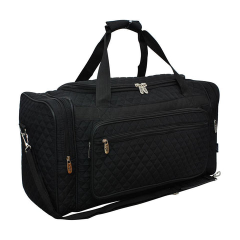"Solid Black NGIL Quilted 20"" Duffle Bag"