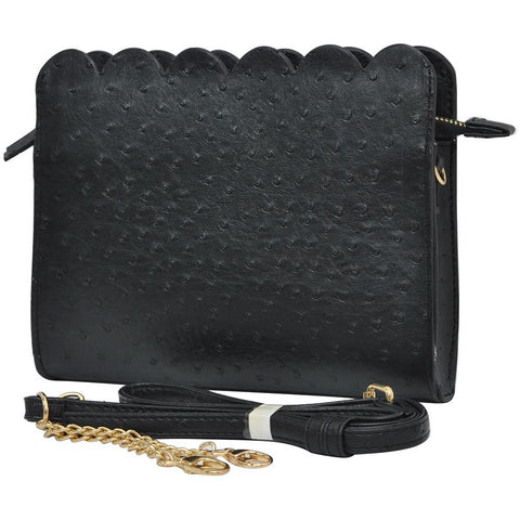Black NGIL Faux Ostrich Leather Scallop Crossbody
