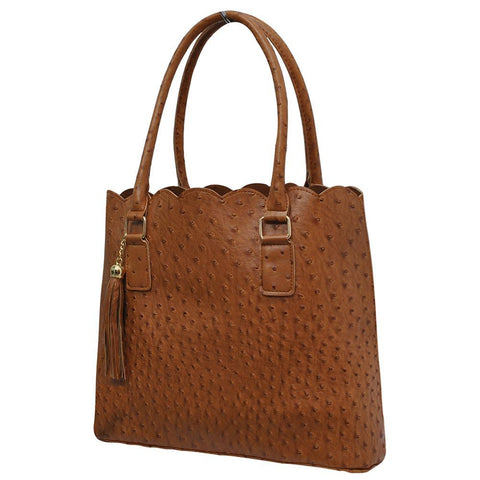 Light Brown NGIL Faux Ostrich Leather Scallop Fashion Bag