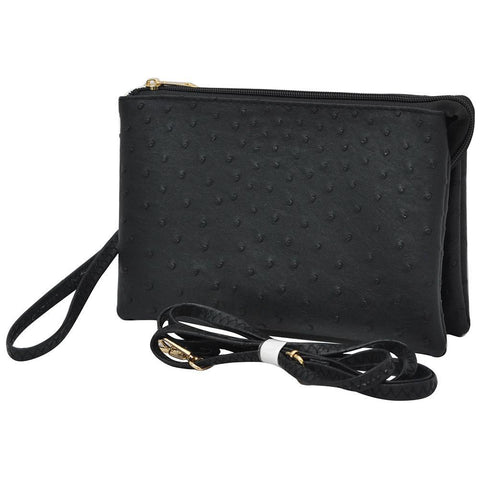 SALE ! Black NGIL Faux Ostrich Leather Triple Compartment Crossbody Bag