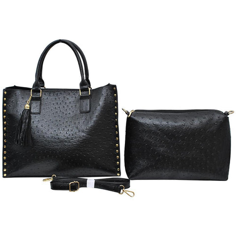 Black NGIL Faux Ostrich Leather 2-IN-1 Tassel Bag