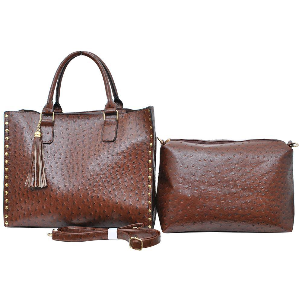 Brown NGIL Faux Ostrich Leather 2-IN-1 Tassel Bag