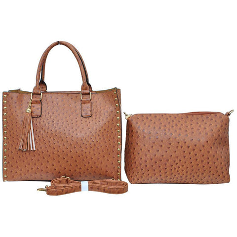 Light Brown NGIL Faux Ostrich Leather 2-IN-1 Tassel Bag