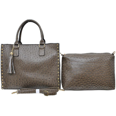 Taupe Grey NGIL Faux Ostrich Leather 2-IN-1 Tassel Bag