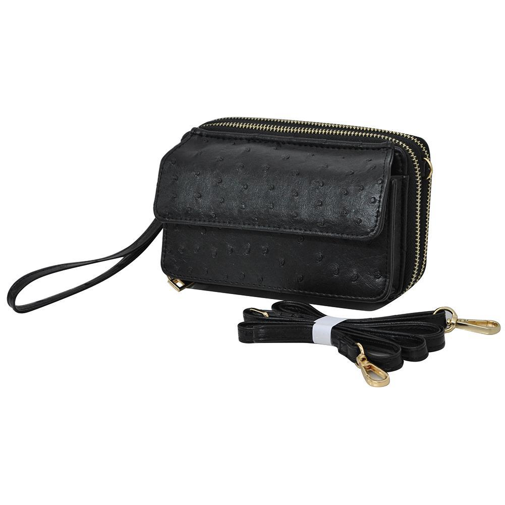 Black Ostrich Faux Leather NGIL All In One Wallet