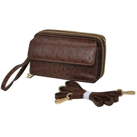 Brown Ostrich Faux Leather NGIL All In One Wallet