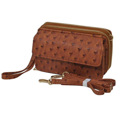 Light Brown Ostrich Faux Leather NGIL All In One Wallet
