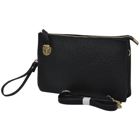SALE! Black NGIL Faux Ostrich Leather Push Lock Clutch/Crossbody Bag