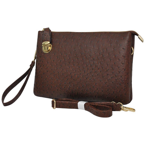 SALE! Brown NGIL Faux Ostrich Leather Push Lock Clutch/Crossbody Bag
