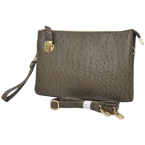 SALE! Taupe Gray NGIL Faux Ostrich Leather Push Lock Clutch/Crossbody Bag
