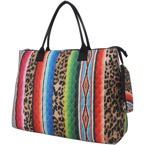 Leopard Serape NGIL Quilted Overnight Tote Bag