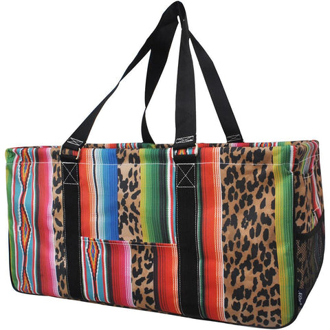 Monogram gift basket, NGIL, monogram tote bag canvas, personalized basket, teacher gift for classroom, leopard serape utility tote, leopard serape bag, leopard serape,