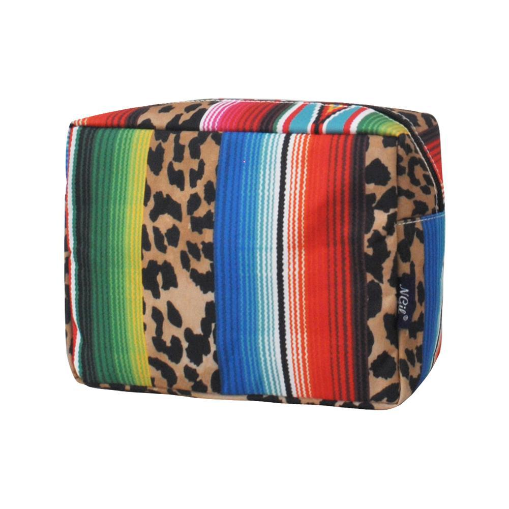 Cosmetic bags in bulk, best women's makeup bag, makeup pouch for school, makeup bag gifts for women, makeup organizer case, cosmetic bag for bride, travel bags gift, leopard serape cosmetic bag