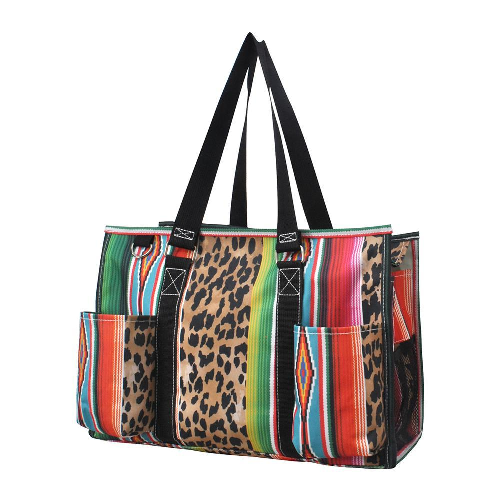 Leopard Serape NGIL Zippered Caddy Organizer Tote Bag