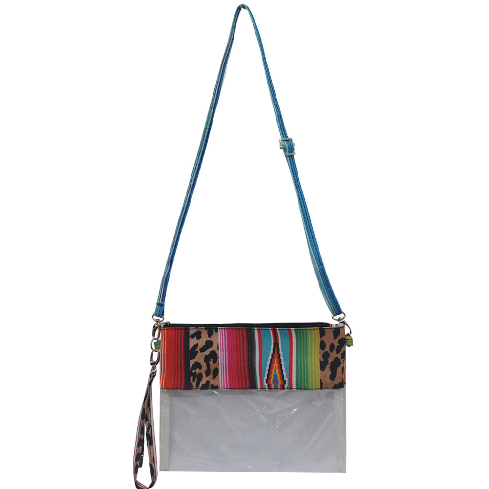 Cute clear serape print small crossbody bag, mini crossbody bag for the amusement parks, simple and cute women's handbags, serape theme crossbody bag, cute clear wholesale crossbody bags for game stadiums, crossbody bags for the mall