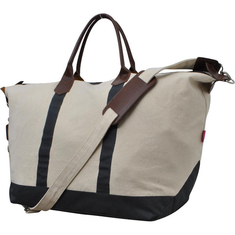 wholesale canvas overnight bag with leather handles, brass fixtures and perfect as a carry on bag, overnight travel, bridesmaid gift and weekend travel.