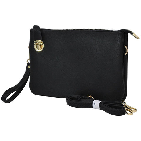 Black NGIL Faux Leather Push Lock Clutch/Crossbody Bag
